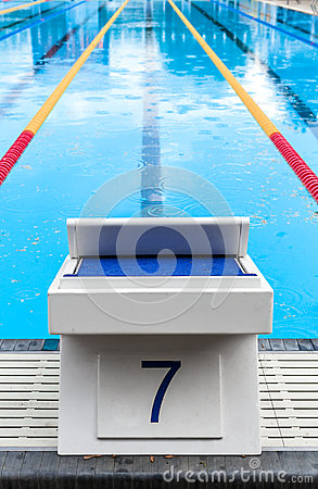 Free Starting Block With The Lucky Seven Number Royalty Free Stock Image - 63221676