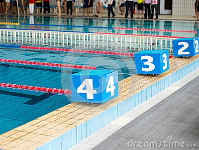 Starting blocks stock photography image 32607522 How big is a competition swimming pool