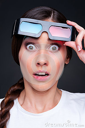 Startled woman in 3d glasses