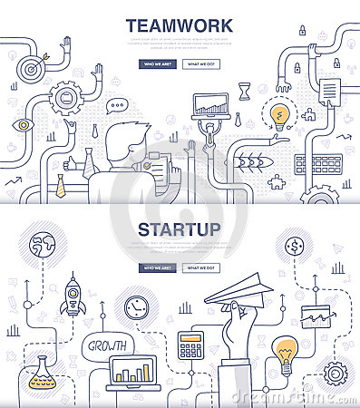 Free Startup And Teamwork Doodle Concepts Stock Photography - 54468702