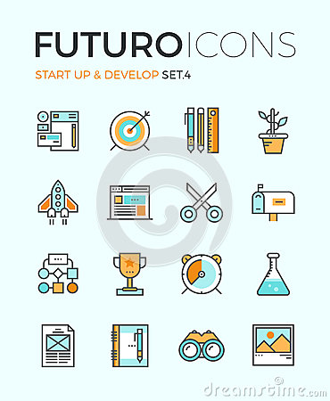 Startup develop futuro line icons stock vector image for Digital product design agency