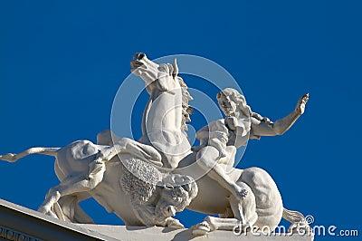 State capitol sculpture woman horse buffalo