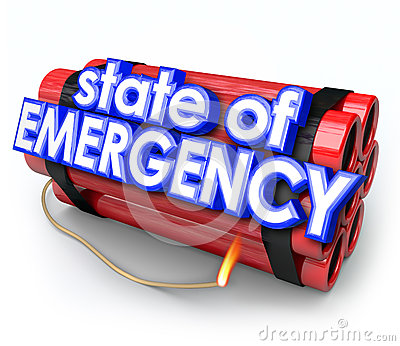 State of Emergency 3d Words Dynamite Bomb Explosive Crisis Disas
