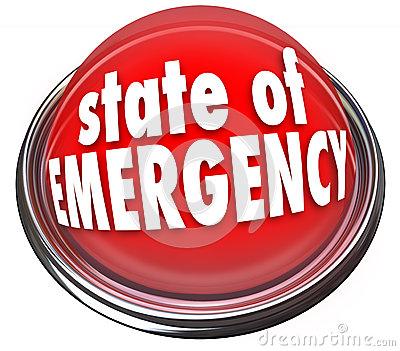 State of Emergency Red Flashing Light Button Warning Danger Cris