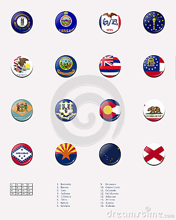 State flag ball/stamp of UNITED STATES 1/3