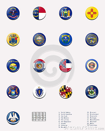 State flag ball/stamp of UNITED STATES 3/3
