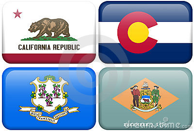 State Flags: CA, CO, Connecticut, Delaware