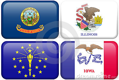 State Flags: Idaho, Illinois, Indiana, Iowa