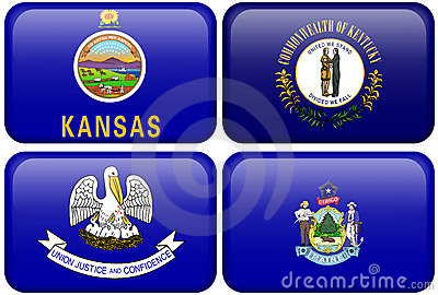 State Flags: Kansas, Kentucky, Louisiana, Maine