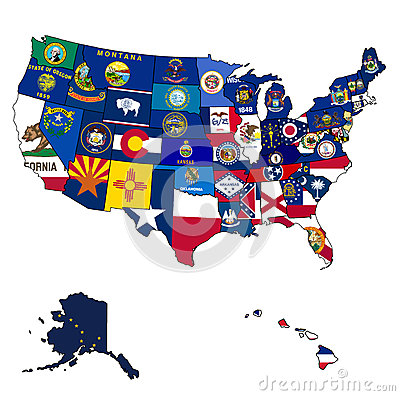 State flags on map of usa