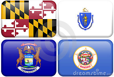 State Flags: Maryland, Massachusetts, Michigan, MN