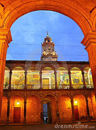 State government offices archway, Morelia, Mexico