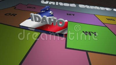 Idaho pull out from USA states abbreviations map stock footage