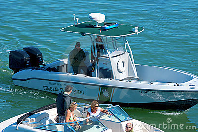 State law enforcement police boat stopping a boat Editorial Photo