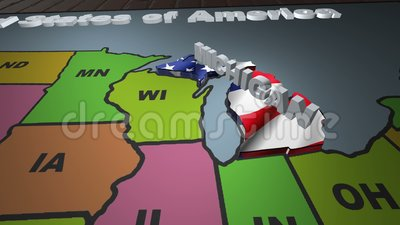 Michigan pull out from USA states abbreviations map stock video