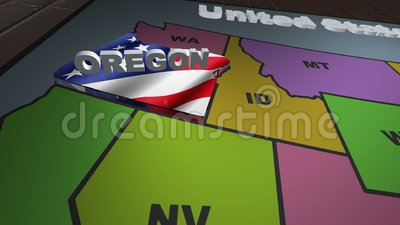 Oregon pull out from USA states abbreviations map stock video footage