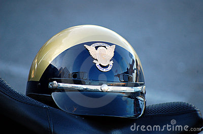 State Police Helmet on a motorcycle seat Editorial Photography