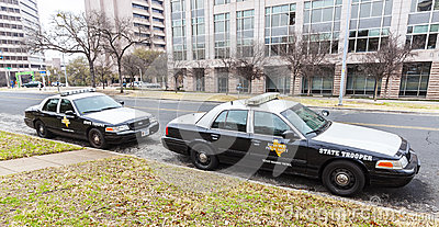 State troopers cars parked in University of Texas at Austin campus. Editorial Stock Image