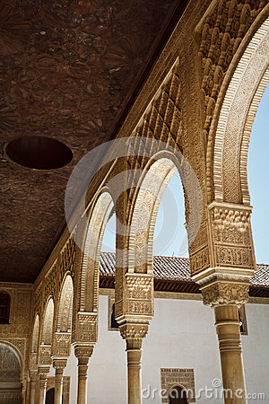 Stately, intricately carved, moorish arches
