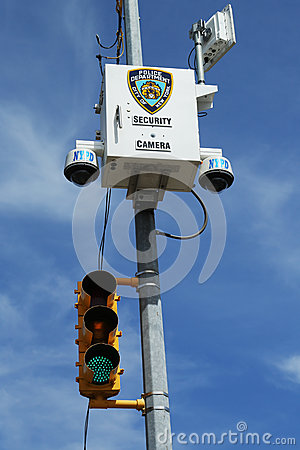 NYPD security camera placed  at the intersection in Staten Island, NY Editorial Image