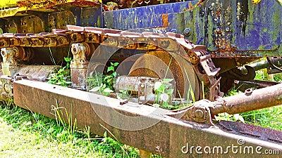 Static shot of old abandoned bulldozer tracks stock video footage