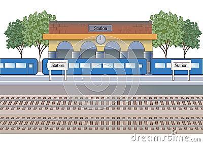Station image station building and platform Vector Illustration