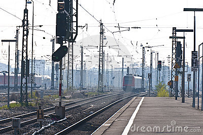 Station in morning-dust