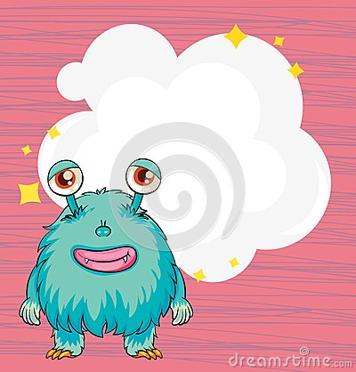 A stationery with a blue hairy monster