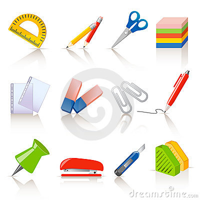 Free Stationery Icons Royalty Free Stock Images - 21835909