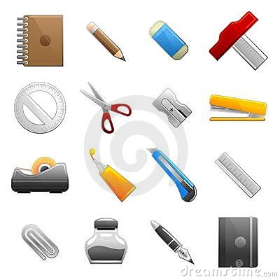 Free Stationery Object Set Royalty Free Stock Images - 12272389