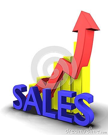 Statistiche grafiche con la parola di vendite