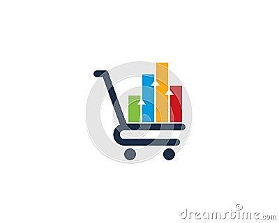 Stats Report Shopping Icon Logo Design Element Vector Illustration