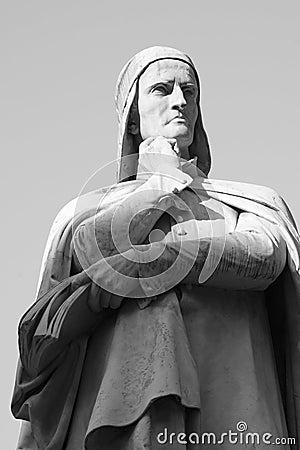 Free Statua Of Dante - Black And White Royalty Free Stock Photo - 27846095