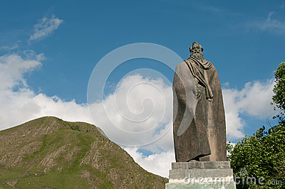 Statue of Alexandre Kazbegi in Stephantsminda, Georgia