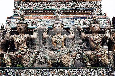 Statue of Angel (Deity) at Wat Arun, Landmark and No. 1 tourist attractions in Thailand.