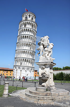 Statue of angels near leaning tower of Pisa, Italy Editorial Stock Image