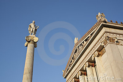 Statue of Apollo and the Academy of Athens