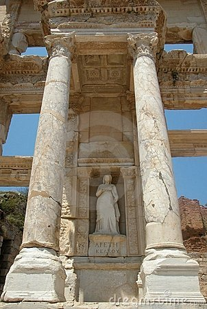 Statue of Arete at Celcus Library in Ephesus, Turkey