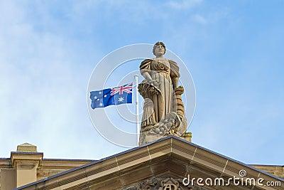Statue with Australia flag