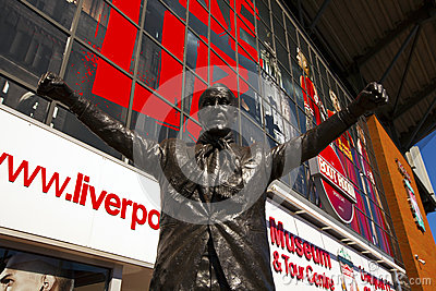Statue of Bill Shankey at Liverpool Football Club stadium. Editorial Stock Photo