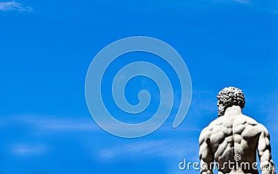 Statue on blue sky