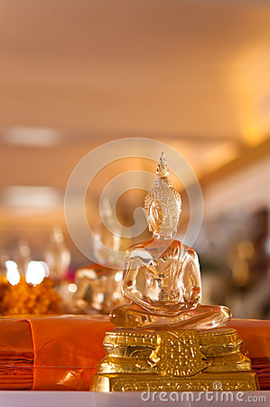 The statue of Buddha made from glass