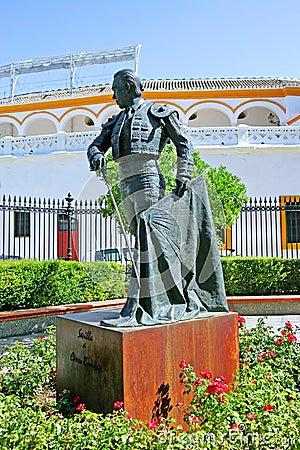 Statue of bullfighter outside bullring in Seville Spain