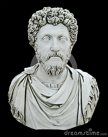 Statue Bust of a Roman Emporer, Isolated on Black