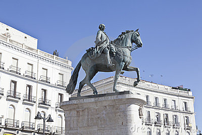 Statue of Carlos III in the Puerta del Sol in Madr Editorial Photography