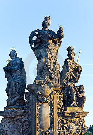 The statue on Charles Bridge (Prague, Czech).