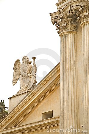 Statue and Columns from building in Rome