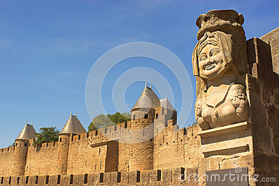The statue of Dame Carcas outside Carcassonne, France