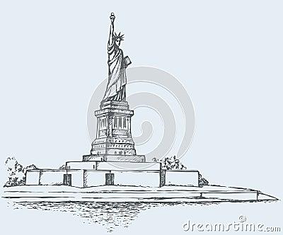 Statue de la libert et du coucher du soleil de new york - Coucher du soleil new york ...