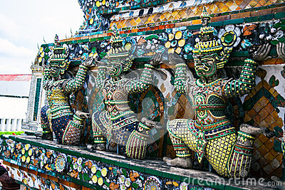 Statue of demon (Giant, Titan) at Wat Arun, Landmark and No. 1 tourist attractions in Thailand.
